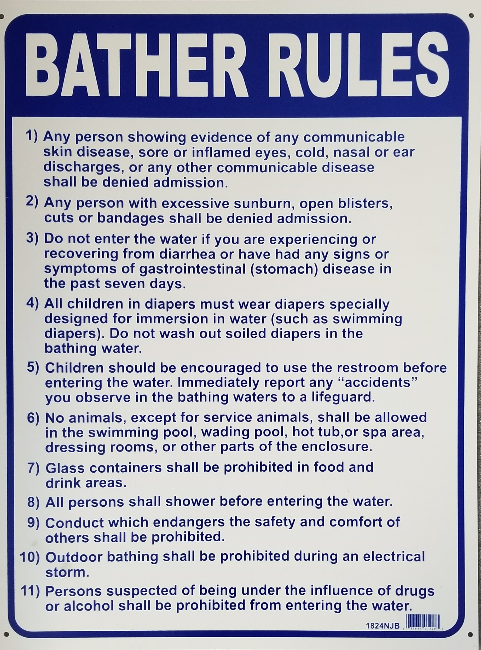 Bather rules sign pool operation management - Residential swimming pool regulations ...