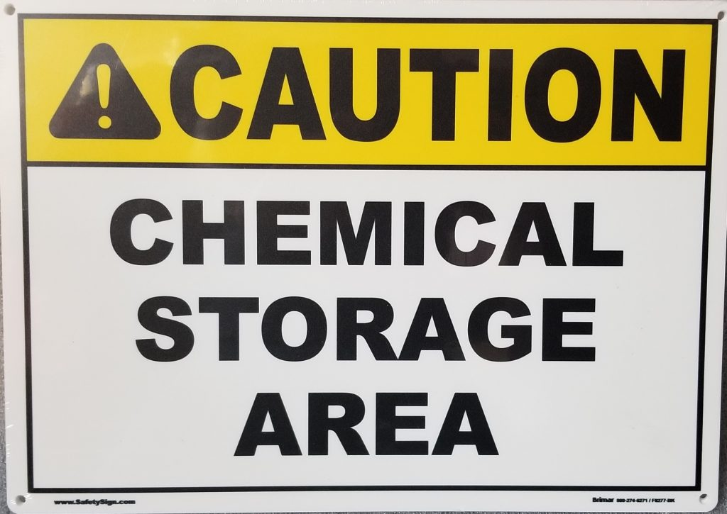 Caution Chemical Sign Pool Operation Management