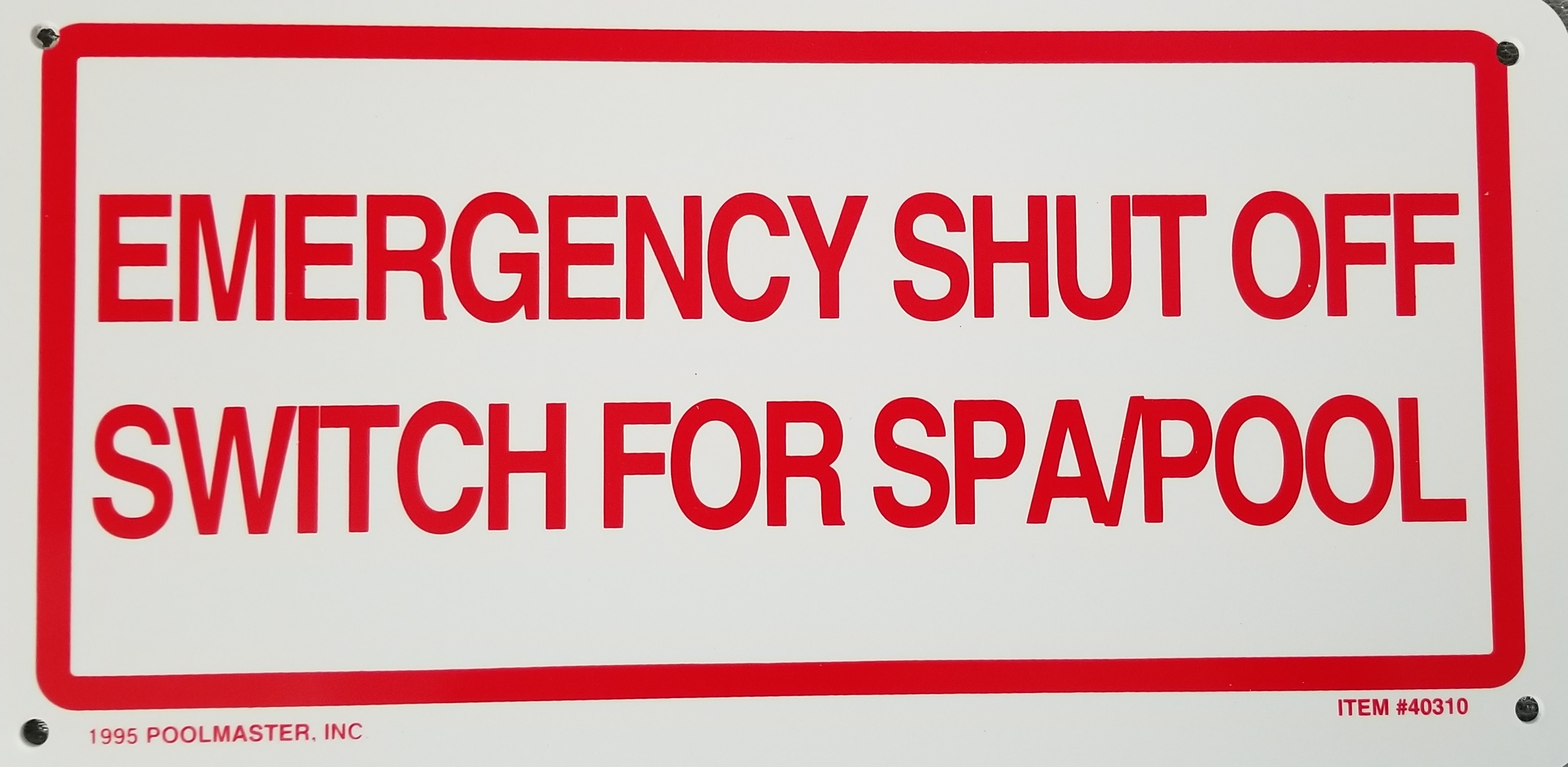 Emergency Shut Off Sign Pool Operation Management